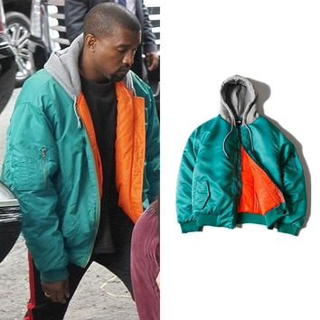 Kanye West MA1 Pilot Bomber Hooded Jacket Male Thick 2018 Trend Streetwear Pure Color Pleated Sleeve Zipper Loose Urban Clothes