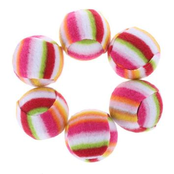 6pcs/set Rainbow Pet Ball Bell Toy Dog Cat Biting Chewing Playing Toys Puppy Funny Interactive Balls for Pet Gift