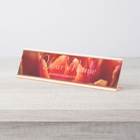 Pretty Red Tulip Petals photo. Add Name or Text. Desk Name Plate