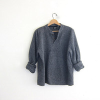 Vintage henley sweater. gray boyfriend sweater. Button front sweater. oversized baggy textured sweater