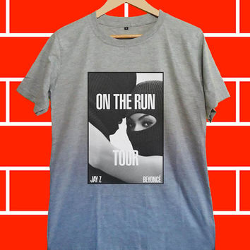 Beyonce jay z on the run tour - Screenprint Grey T shirt for Woman and Mens fast shipping