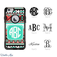 iPhone Otterbox Case for iPhone 5, 5s, 6, 6 Plus Monogrammed Teal Women Girls Aztec Tribal Initials Personalized Phone Case Hard Cover 1123