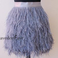 Couture Dusty Grey Ostrich Feather Skirt - Laveder Faye - Made to Order - Custom Size/Color/Style Options Available