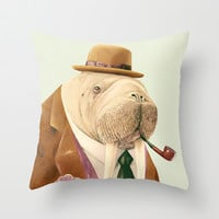 Mr Walrus Throw Pillow by Animal Crew