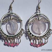 Rose Quartz earrings-Lovely silver plated hoop earrings with wings-Rose Quartz and glass beads