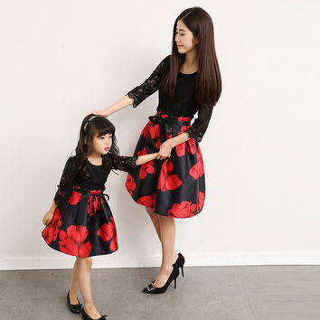 Mommy & Me Christmas / Holiday Dress with Lace Bodice