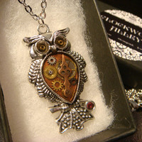 Steampunk Owl Necklace- Made with Real Watch Parts  (2208)