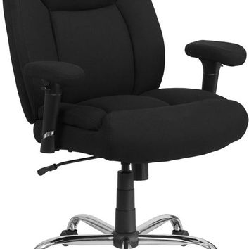 HERCULES Series Big & Tall 400 lb. Rated Black Fabric Deep Tufted Swivel Ergonomic Task Office Chair with Adjustable Arms [GO-2073F-GG]