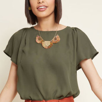 Pleasing Breeze Flutter Sleeve Top in Olive