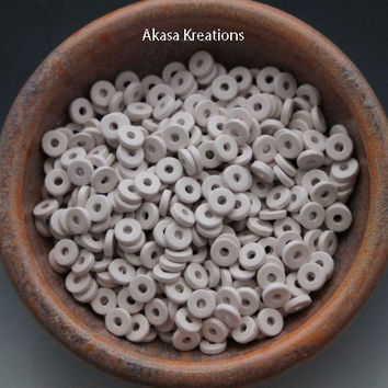 8mm Off White Mykonos Greek Ceramic Beads  (packs of 25 or 50) Disc Disk Spacers Roundels Donuts Purity Perfection Honesty Light