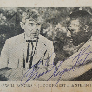 Rare 1934 Stepin Fetchit Signed Will Rodgers Judge Priest Movie Post Card