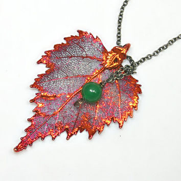 Real Leaf Necklace Pendant -Birch -Emerald