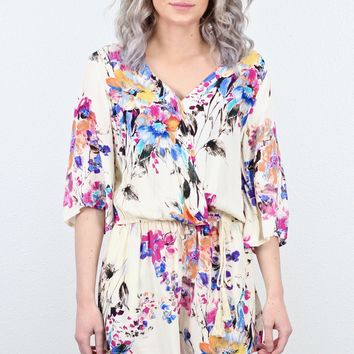 Sunshine Watercolor Florals V-neck Romper {Pink+Royal Mix}