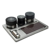 The Stashtray by Myster - Stainless Steel Magnetic Rolling Tray, Grinder, Stash Jar, Lighter Case