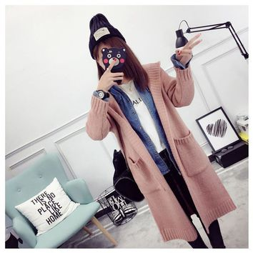 New Fashion Casual Loose Knitted Hooded Cardigan Sweater Coat Female Women's Long Spring Autumn All-match Pocket Overcoat
