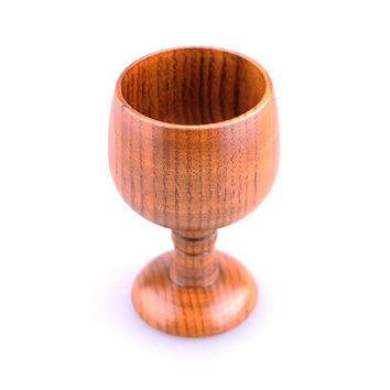 Kitchen Wine Goblet Cup Natural Hand-made Jujube Wood Safety and health Water Pokal Tea Cup Vintage Glass Cup