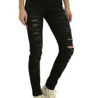 Blackheart Black Destructed Skinny Jeans