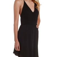 Black Strappy Backless Halter Dress by Charlotte Russe
