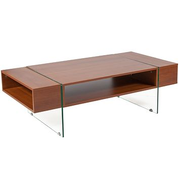 Lafayette Place Wood Grain Finish Coffee Table with Glass Legs