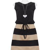 Black Pointed Collar Contrast Beige Dress