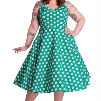 Hell Bunny Marian 50's Retro Halter Green and White Polka Dot Halter Dress