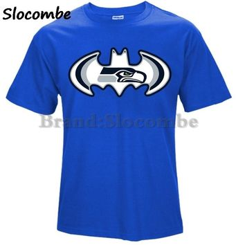 Fashion Men's Seattle 12TH Seahawks Defense Footballer T Shirt Bat man Logo Picture Print Classical Summer O-neck T-Shirts