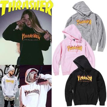 Thrasher Fire Flame Plus Velvet Cotton Hooded Sweater M--XXL