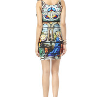 Girls Virgin Mary Printing-Palace-Belief-Blue- Non-mainstream Dress P30XTQ037