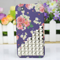 Silvery Pyramid Stud And Beautiful Flower Hard Case Cover For Apple iPhone 4 Case, iPhone 4s Case, iPhone 4 Hard Case