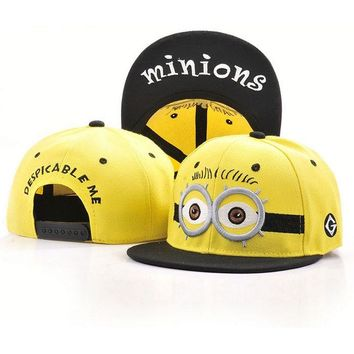 Snapback caps character minions pattern adjustable snapback unisex hat letter Embroidery baseball caps for 2016