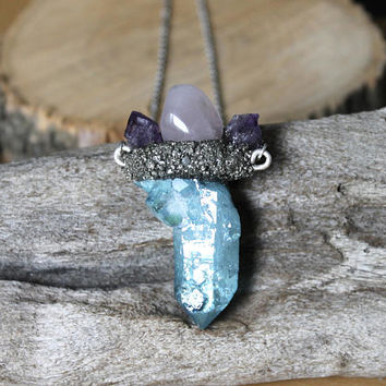 Aqua Aura Quartz Necklace w/ Rose Quartz & Raw Amethyst - Crushed Pyrite Jewelry - Blue Crystal Necklace - Wiccan Jewelry - Hippie Necklace