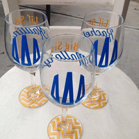 Greek Sorority Circle monogram wine glasses with Chevron bottoms