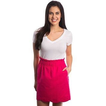 Solid Scalloped Seersucker Skirt in Raspberry by Lauren James