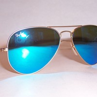 NEW RAY BAN AVIATOR Sunglasses 3025 112/17 GOLD/BLUE MIRROR 55MM AUTHENTIC