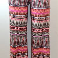 Divine Doll Crazy Tribal Print Wide Leg Flare Paints