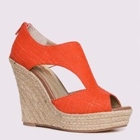 Seychelles Memories Linen Cut-Out Wedge in Coral in Shoes All Shoes at Frock Candy