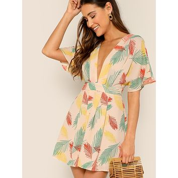 SHEINPlunging Tie Open Back Tropical Dress