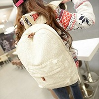 TM Womens Girl Lace Sweet Cute Handbag Backpack Campus White