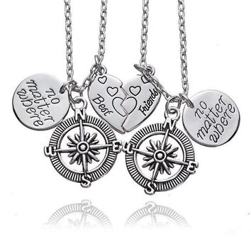 Best Friends No Matter Where Compass Necklaces Set 2 pcs/lots For Teens Alloy Round Pendant Double Jewelry