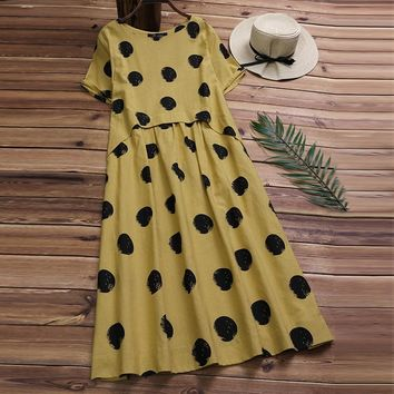 Plus Size Linen Shirt Dress Womens Summer Sundress 2019 Female Casual Pleated Print Sarafans Midi Vestidos With Polka Dots 5XL