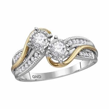14kt White Two-tone Gold Women's Round Diamond 2-stone Bridal Wedding Engagement Ring 1/2 Cttw - FREE Shipping (US/CAN) (Certified)
