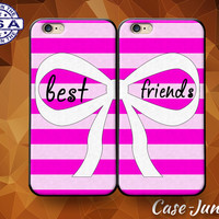 Pink Best Friends Pair Matching Case BFF Bow Striped Tumblr Case For iPhone 4 and 4s and iPhone 5 and 5s and 5c and iPhone 6 and 6 Plus +