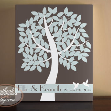 Unique Wedding Guestbooks - Wedding Tree Guest Book - Bird Tree Guest Book - Signature Leaves - Wedding Guestbook Alternative