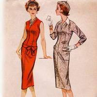 Vintage 1950s Sewing Pattern - Sexy Drop Waist Belted Sheath Dress with V Neckline & Blouse, Easy - 1957 McCall's 4423, Bust 32, Uncut
