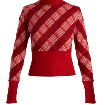 High-neck checked mohair-blend sweater | Miu Miu | MATCHESFASHION.COM US