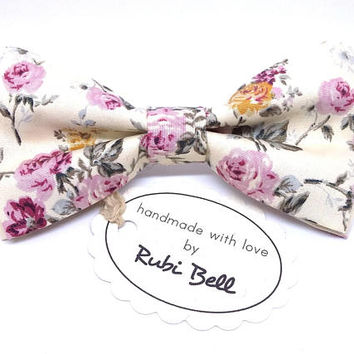 Bow Tie - floral bow tie - wedding bow tie - creamy white bow tie with pink flowers - grooms bow tie - creamy white floral bow tie