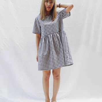 Gingham smock dress, Loose babydoll dress, Sun dress, Plaid dress