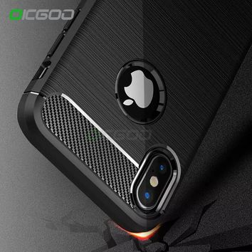 OICGOO Luxury Shockproof Carbon Fiber Case For iPhone X Cover 7 6 6s Plus Cases Soft 360 Full Cover For iphone 6 6s 7 plus Case