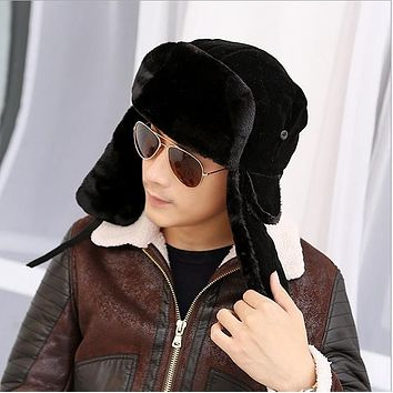 2018 high quality winter Warm Proof Trapper Hat Men aviator hat,Russian Hat sport outdoor ear flaps bomber caps Chapeu morno