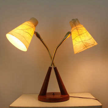 Vintage Mid Century Double Neck Lamp with Fiberglass Shades